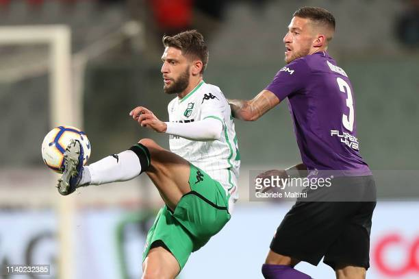 Domenico Berardi of US Sassuolo during the Serie A match between ACF Fiorentina and US Sassuolo at Stadio Artemio Franchi on April 29 2019 in...