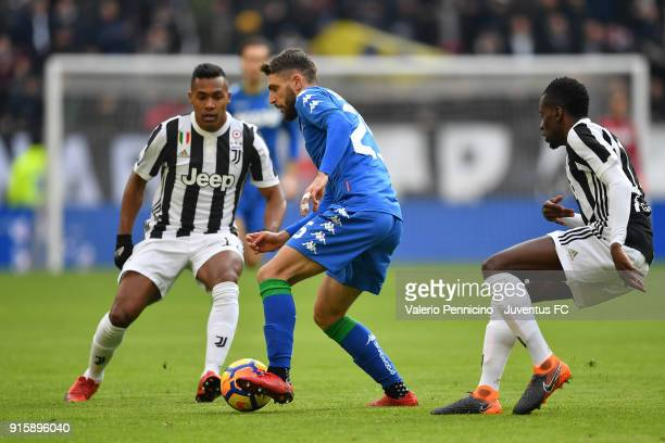 Domenico Berardi of US Sassuolo in action against Alex Sandro and Blaise Matuidi of Juventus during the serie A match between Juventus and US...