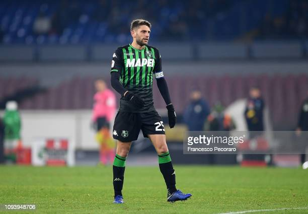 Domenico Berardi of US Sassuolo in action during the Coppa Italia match between SSC Napoli and US Sassuolo at Stadio San Paolo on January 13 2019 in...