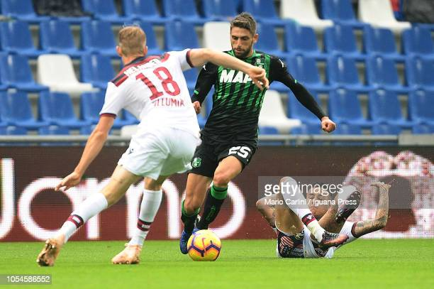 Domenico Berardi of US Sassuolo in action during the Serie A match between US Sassuolo and Bologna FC at Mapei Stadium Citta' del Tricolore on...