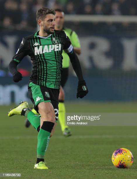 Domenico Berardi of US Sassuolo in action during the Serie A match between Brescia Calcio and US Sassuolo at Stadio Mario Rigamonti on December 18...