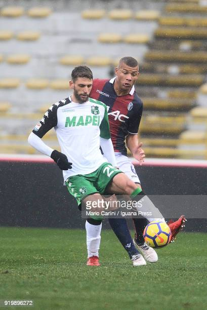 Domenico Berardi of US Sassuolo in action during the serie A match between Bologna FC and US Sassuolo at Stadio Renato Dall'Ara on February 18 2018...