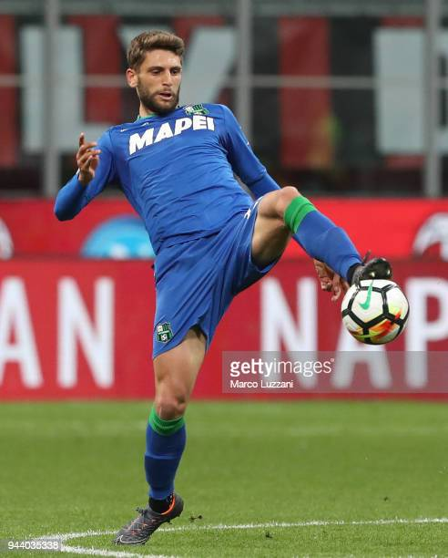 Domenico Berardi of US Sassuolo in action during the serie A match between AC Milan and US Sassuolo at Stadio Giuseppe Meazza on April 8 2018 in...
