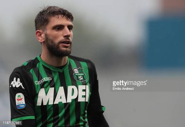 Domenico Berardi of US Sassuolo looks on during the Serie A match between US Sassuolo and Parma Calcio at Mapei Stadium Citta' del Tricolore on April...