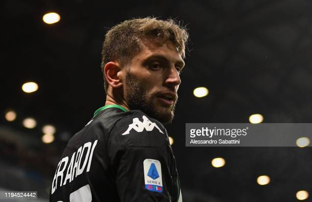 Domenico Berardi of US Sassuolo looks on during the Serie A match between US Sassuolo and Torino FC at Mapei Stadium Città  del Tricolore on January...