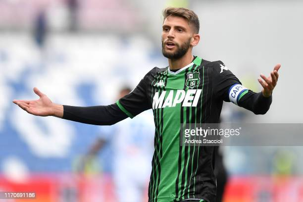 Domenico Berardi of US Sassuolo reacts during the Serie A football match between US Sassuolo and SPAL US Sassuolo won 30 over SPAL