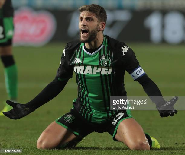 Domenico Berardi of US Sassuolo reacts during the Serie A match between Brescia Calcio and US Sassuolo at Stadio Mario Rigamonti on December 18 2019...