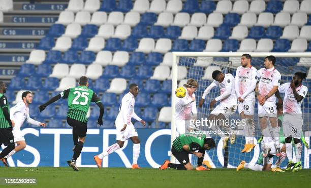 Domenico Berardi of US Sassuolo scores their team's first goal during the Serie A match between US Sassuolo and AC Milan at Mapei Stadium - Citta del...