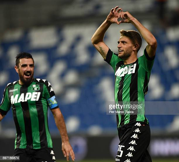 Domenico Berardi of US Sassuolocelebrates his first goal during the Serie A match between US Sassuolo and Pescara Calcio at Mapei Stadium Citta' del...