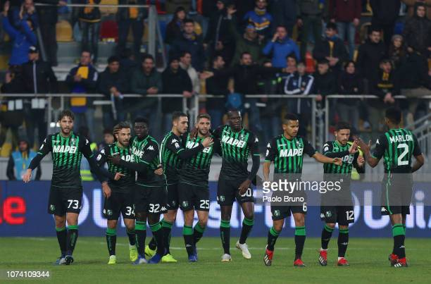 Domenico Berardi with his teammates of US Sassuolo celebrates after scoring the team's second goal during the Serie A match between Frosinone Calcio...