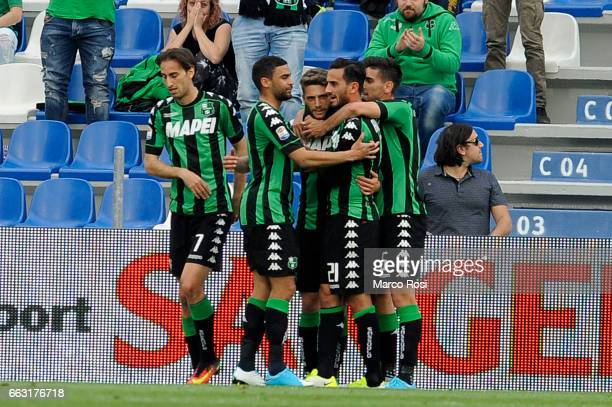 Domenico Berardo of US Sassuolo celebrates a opening goal a penalty during the Serie A match between US Sassuolo and SS Lazio at Mapei Stadium Citta'...