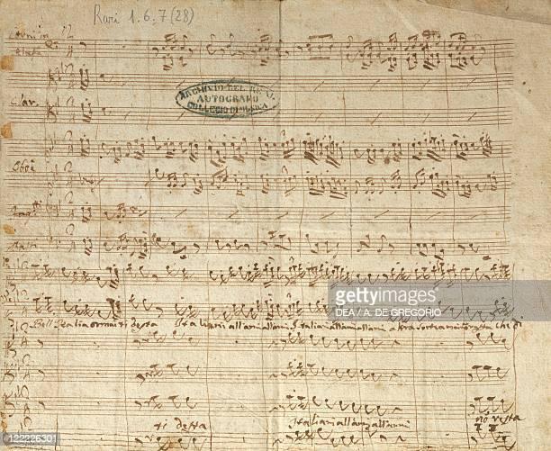 Domenico Cimarosa Patriotic hymn Bell'Italia ormai ti desta 1799 Autograph score