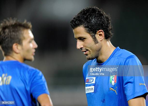Domenico Criscito and Fabio Grosso of Italy during the training at Boris Paichadze National Stadium on September 4 2009 in Tbilisi Georgia