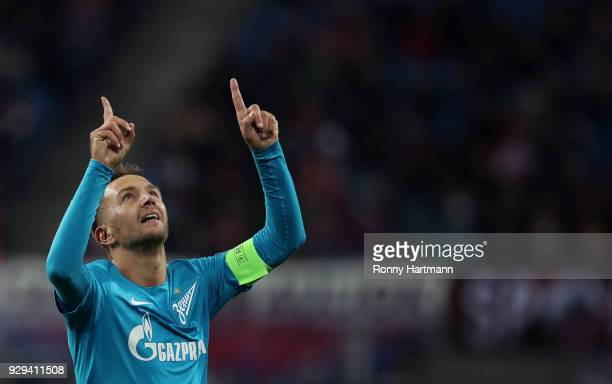 Domenico Criscito of FC Zenit Saint Petersburg celebrates after scoring his team's first goal during the UEFA Europa League Round of 16 match between...