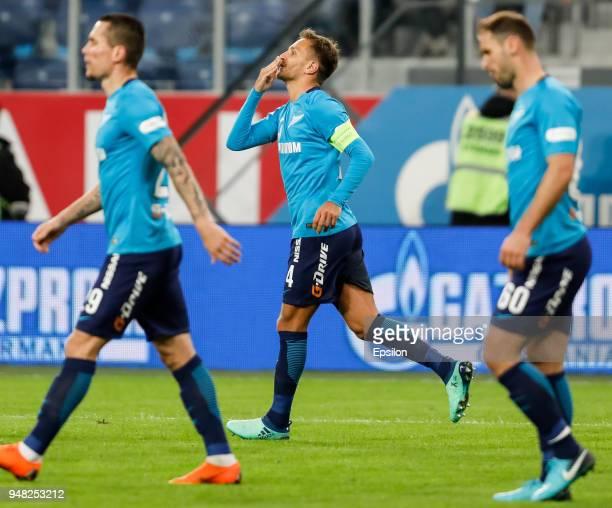 Domenico Criscito of FC Zenit Saint Petersburg celebrates his goal during the Russian Football League match between FC Zenit Saint Petersburg and FC...