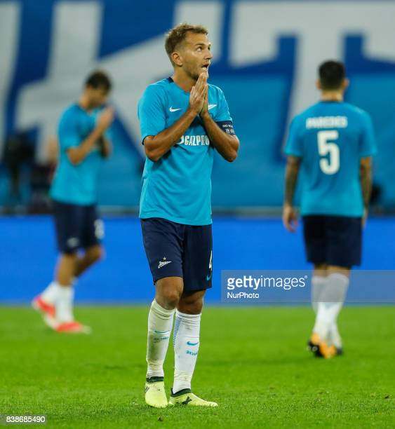 Domenico Criscito of FC Zenit Saint Petersburg reacts during the UEFA Europa League playoff round second leg match between FC Zenit St Petersburg and...