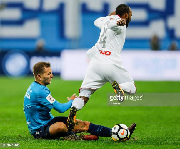 Domenico Criscito of FC Zenit Saint Petersburg vies for the ball with Manuel Fernandes of FC Lokomotiv Moscow during the Russian Football League...