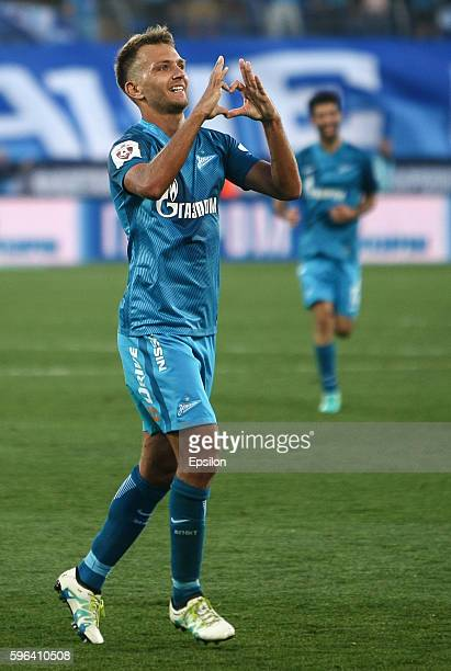 Domenico Criscito of FC Zenit St Petersburg celebrates his goal during the Russian Football League match between FC Zenit St Petersburg and FC Amkar...