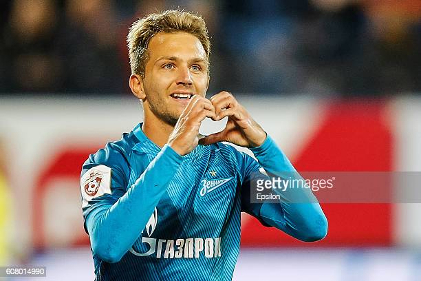 Domenico Criscito of FC Zenit St Petersburg celebrates his goal during the Russian Football League match between FC Zenit St Petersburg and FC Rubin...