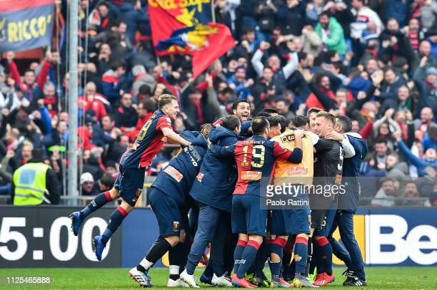 Domenico Criscito of Genoa celebrated by his teammates after scoring a goal during the Serie A match between Genoa CFC and SS Lazio at Stadio Luigi...