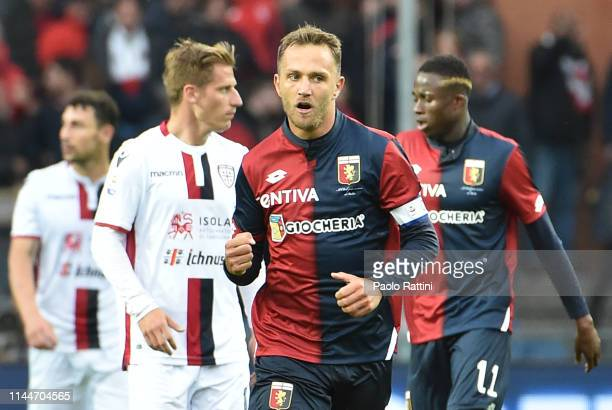 Domenico Criscito of Genoa CFC celebrate after penalty during the Serie A match between Genoa CFC and Cagliari Calcio at Stadio Luigi Ferraris on May...