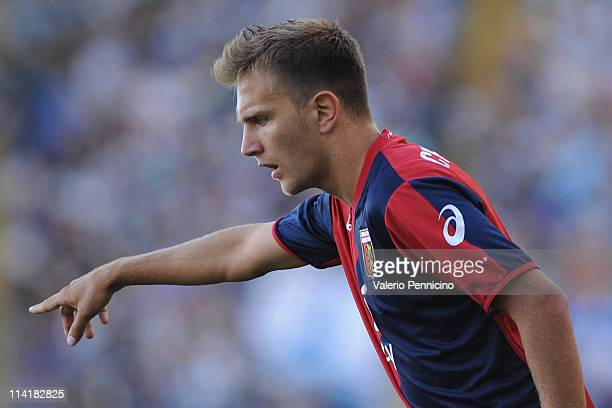 Domenico Criscito of Genoa CFC gestures during the Serie A match between SS Lazio and Genoa CFC at Stadio Olimpico on May 14 2011 in Rome Italy