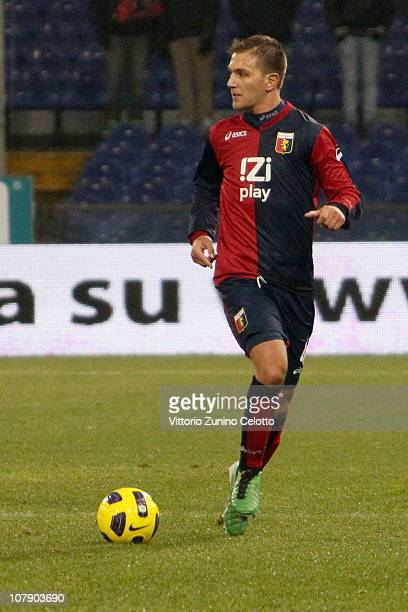 Domenico Criscito of Genoa CFC in action during the Serie A match between Genoa and Lazio at Stadio Luigi Ferraris on January 6 2011 in Genoa Italy