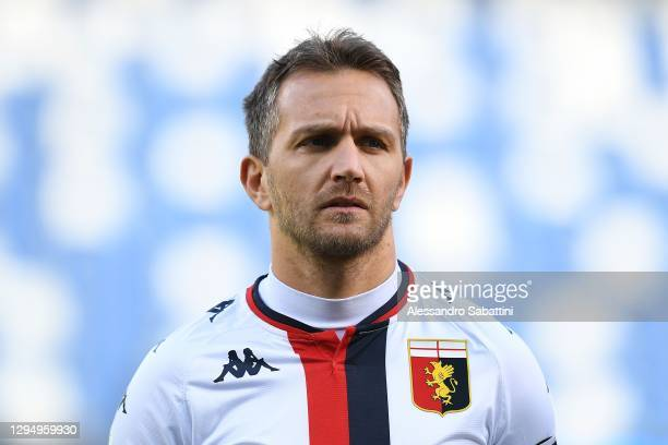 Domenico Criscito of Genoa CFC looks on before the Serie A match between US Sassuolo and Genoa CFC at Mapei Stadium - Città del Tricolore on January...