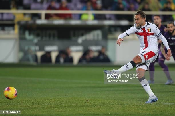 Domenico Criscito of Genoa CFC misses a penalty during the Serie A match between ACF Fiorentina and Genoa CFC at Stadio Artemio Franchi on January 25...