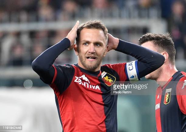 Domenico Criscito of Genoa CFC reacts during the Serie A match between Genoa CFC and US Sassuolo at Stadio Luigi Ferraris on January 5, 2020 in...