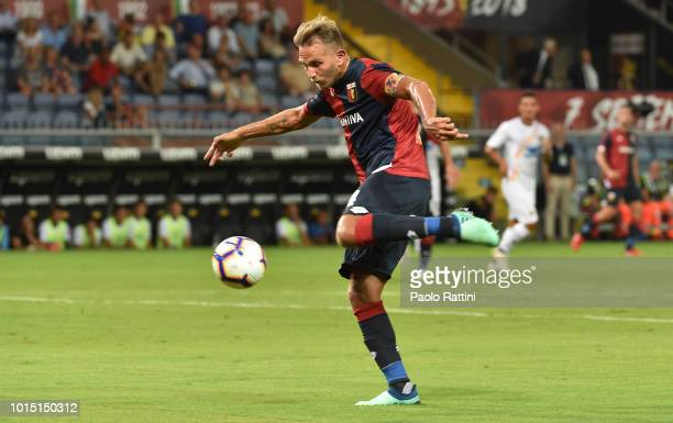 Domenico Criscito of Genoa in action during the Coppa Italia match between Genoa CFC and Lecce at Stadio Luigi Ferraris on August 11 2018 in Genoa...