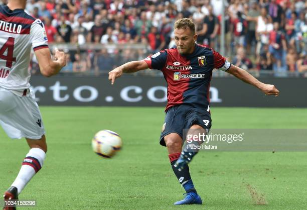Domenico Criscito of Genoa in action during the serie A match between Genoa CFC and Bologna FC at Stadio Luigi Ferraris on September 16 2018 in Genoa...