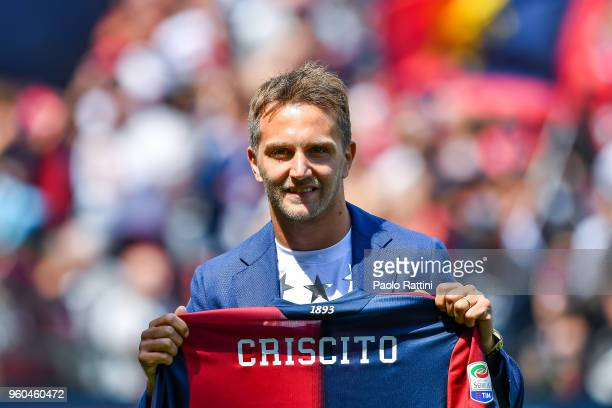 Domenico Criscito of Genoa returning after playing seven years for Zenit St Petersburg shows club's new home shirt before the serie A match between...