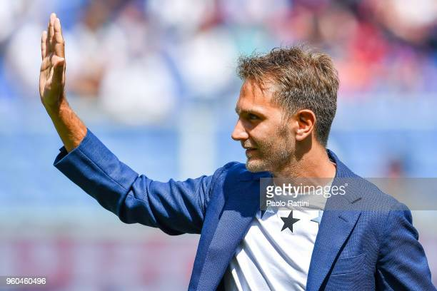 Domenico Criscito of Genoa returning after playing seven years for Zenit St Petersburg greets the crowd before the serie A match between Genoa CFC...