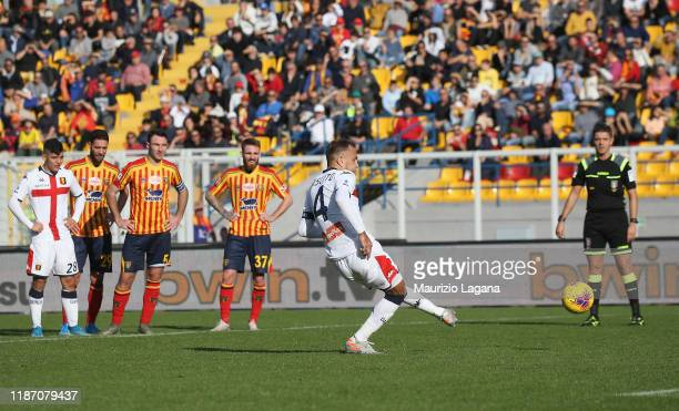 Domenico Criscito of Genoa scores his team's second goal with penalty during the Serie A match between US Lecce and Genoa CFC at Stadio Via del Mare...
