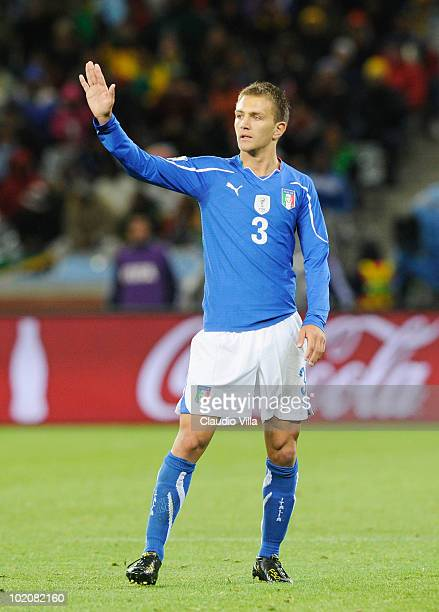 Domenico Criscito of Italy gestures during the 2010 FIFA World Cup South Africa Group F match between Italy and Paraguay at Green Point Stadium on...