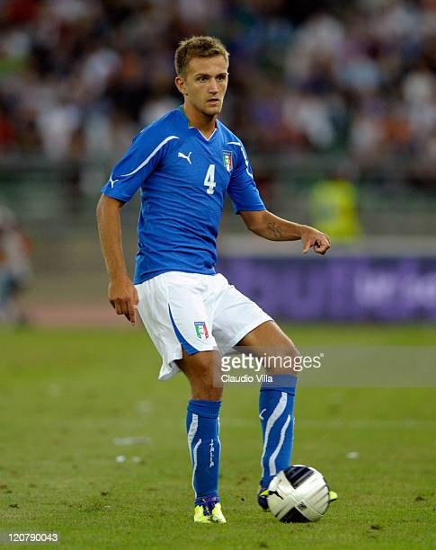 Domenico Criscito of Italy in action during the international friendly match between Italy and Spain at Stadio San Nicola on August 10 2011 in Bari...