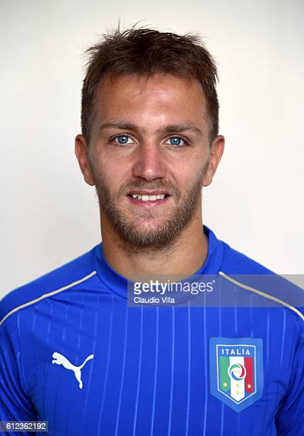 Domenico Criscito of Italy poses during the official portrait session prior to the training session at the club's training ground at Coverciano on...