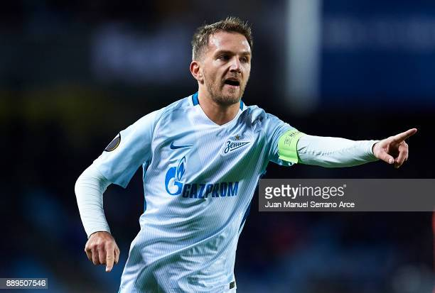 Domenico Criscito of Zenit St Petersburg reacts during the UEFA Europa League group L football match between Real Sociedad de Futbol and FC Zenit...