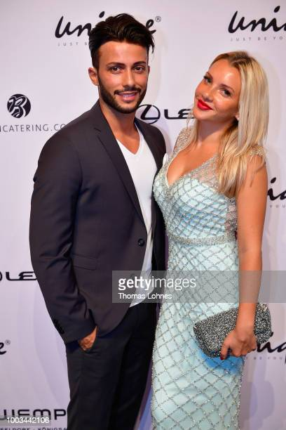 Domenico de Cicco and Evelyn Burdecki attend the Unique show during Platform Fashion July 2018 at Areal Boehler on July 21, 2018 in Duesseldorf,...