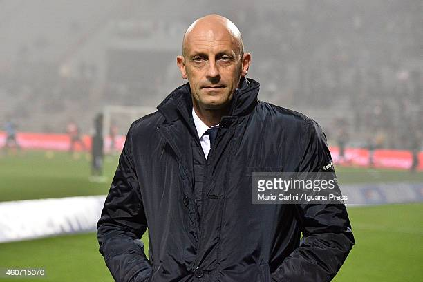Domenico Di Carlo head coach of AC Cesena looks on prior the beginning of the Serie A match between US Sassuolo Calcio and AC Cesena on December 20...