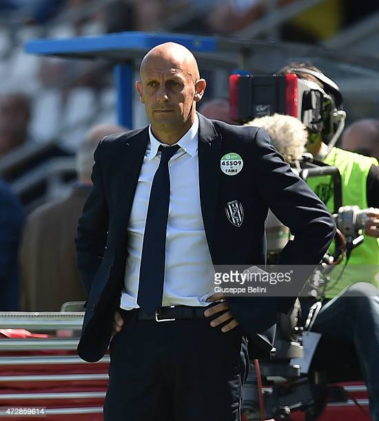 Domenico Di Carlo head coach of Cesena during the Serie A match between AC Cesena and US Sassuolo Calcio at Dino Manuzzi Stadium on May 10 2015 in...