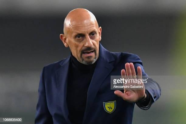 Domenico Di Carlo head coach of Chievo Verona gestures during the Coppa Italia match between AC ChievoVerona and Cagliari Calcio at Stadio...
