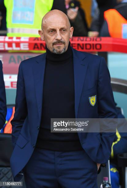 Domenico Di Carlo head coach of Chievo Verona looks on during the Serie A match between Udinese and Chievo at Stadio Friuli on February 17 2019 in...
