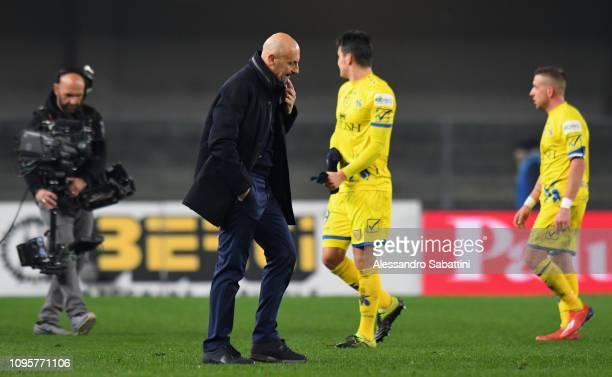 Domenico Di Carlo head coach of Chievo Verona reacts after the Serie A match between Chievo Verona and AS Roma at Stadio Marc'Antonio Bentegodi on...