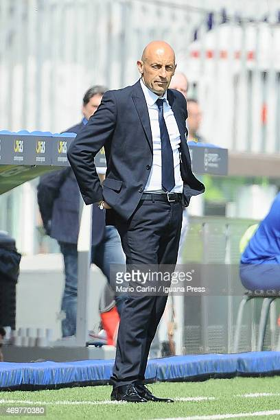 Domenico Di Carlo headcoach of AC Cesena looks on during the Serie A match between AC Cesena and AC Chievo Verona at Dino Manuzzi Stadium on April 12...