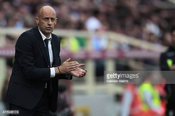 Domenico Di Carlo manager of AC Cesena gestures during the Serie A match between ACF Fiorentina and AC Cesena at Stadio Artemio Franchi on May 3 2015...