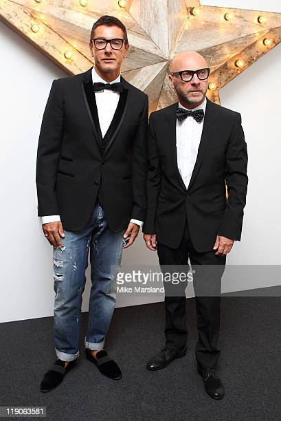Domenico Dolce and Stefano Gabbana attend the NetaPorter Mr Porter and Dolce Gabbana party at Westfield on July 14 2011 in London England