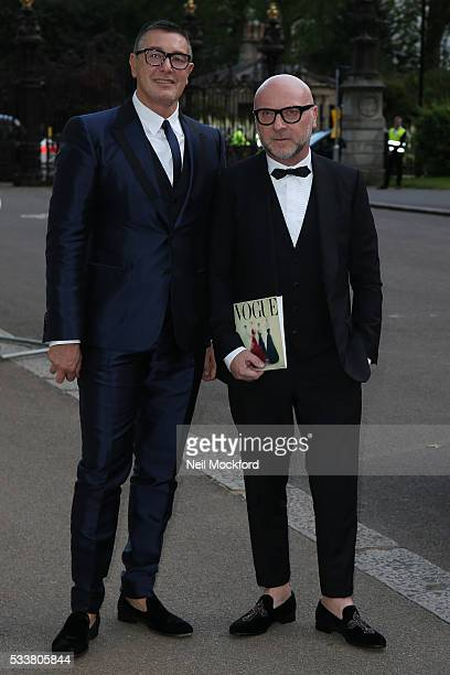 Domenico Dolce and Stefano Gabbana attend the Vogue 100 Gala Dinner at the East Albert Lawn in Kensington Gardens on May 23 2016 in London England