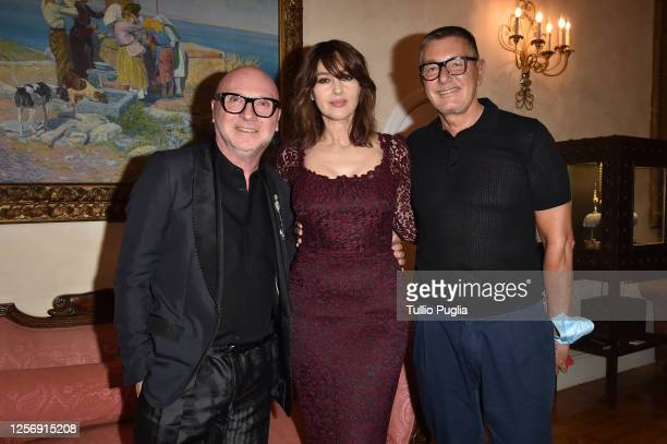 Domenico Dolce, Monica Bellucci and Stefano Gabbana attend the red carpet of the closing night of the Taormina Film Festival on July 18, 2020 in...